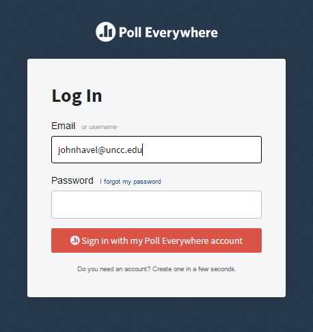 Poll Everywhere Login using Single Signon at UNC Charlotte