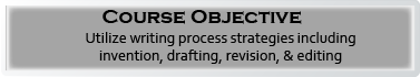 Course Objective: Utilize writing process strategies including invention, drafting, revision, & editing