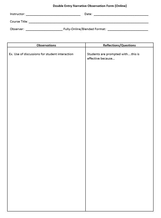 Image of Double Entry Narrative Observation Form (Online)