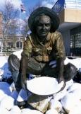 Prospector Statue in Snow